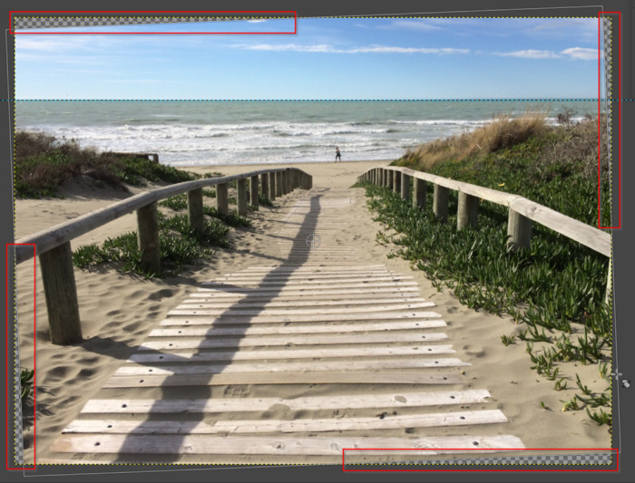 Image areas without image information when not cropping image
