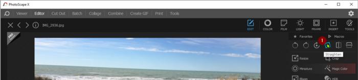 Screenshot straighten tool location PhotoScape X