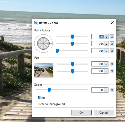 An unusual sight for a rotate option panel.