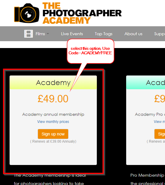 The Photographer Academy promo
