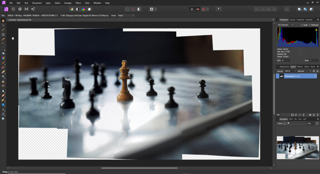 panorama in Affinity Photo Software