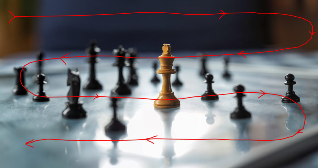 image of chessboard and shooting pattern superimposed