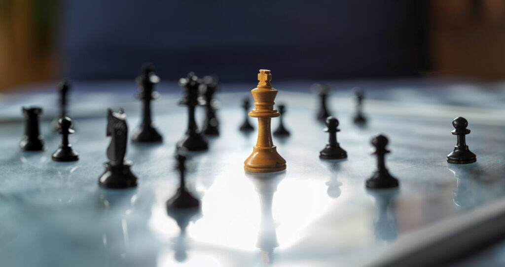 Chessboard with pieces and shallow depth of field