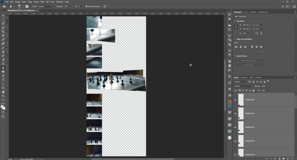 panorama in photoshop with merging issues