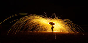 Light Painting with Light Tubes and Burning Steel Wool