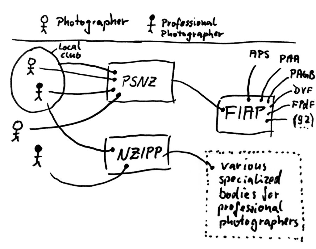 Graphic to explain relationship between local, regianal, national and international photographic clubs and societies.
